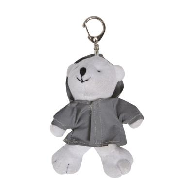Image of Plush polar bear in a reflective hoodie with a key ring