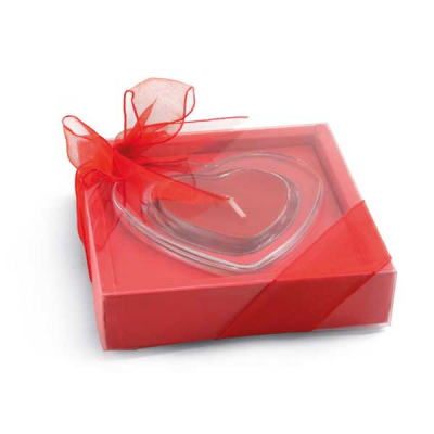 Image of Heart Shaped Glass Candle Base In Gift Wrap