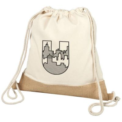 Image of Delhi cotton jute drawstring backpack